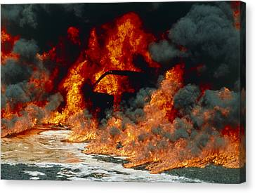 Petrol Explosion From Car Accident Canvas Print