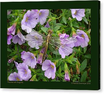 Petunias With Dragonfly Canvas Print by Patricia Overmoyer