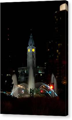 Philadelphia City Hall And Swann Fountain At Night Canvas Print by Bill Cannon