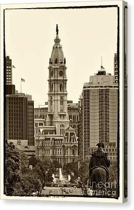 Ben Franklin Canvas Print - Philadelphia City Hall by Jack Paolini