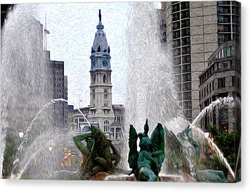 Philadelphia Fountain Canvas Print by Bill Cannon
