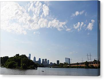 Philadelphia From Kelly Drive Canvas Print by Bill Cannon
