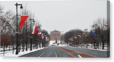 Benjamin Franklin Canvas Print - Philadelphia Parkway In The Snow by Bill Cannon