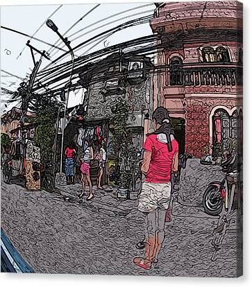 Philippines 1684 Girls Playing On Sidewalk Canvas Print by Rolf Bertram