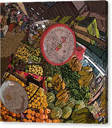 Philippines 2100 Food Market With Scale Canvas Print by Rolf Bertram