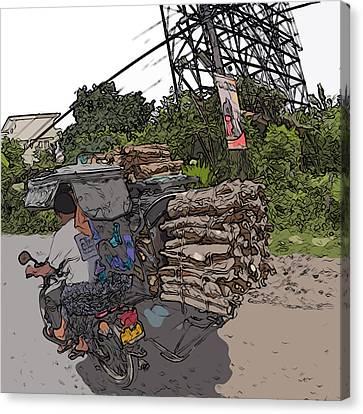 Philippines 2797 Firewood Transportation Canvas Print by Rolf Bertram