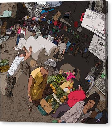 Philippines 2973 Busy Marketplace Canvas Print by Rolf Bertram