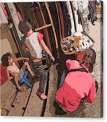 Philippines 2974 Mom With Two Kids In Market Canvas Print by Rolf Bertram