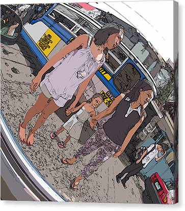 Philippines 3993 Young Moms With Girl Canvas Print by Rolf Bertram