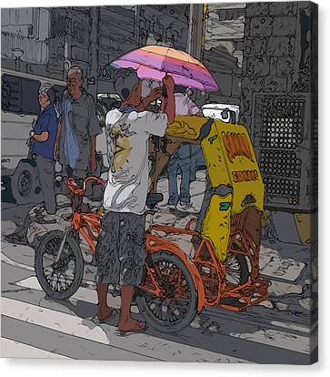 Philippines 870 Bicycle Taxi Canvas Print by Rolf Bertram
