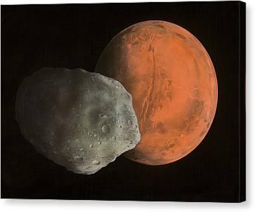 Phobos And Mars, Artwork Canvas Print by Richard Bizley