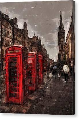 Phone Booths Canvas Print by Wade Aiken