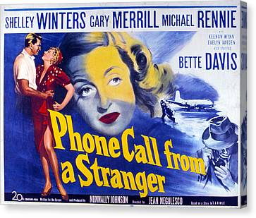 1950s Movies Canvas Print - Phone Call From A Stranger, Bette by Everett