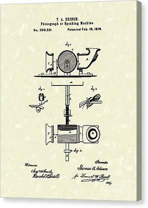 Phonograph 1878 Patent Art  Canvas Print by Prior Art Design