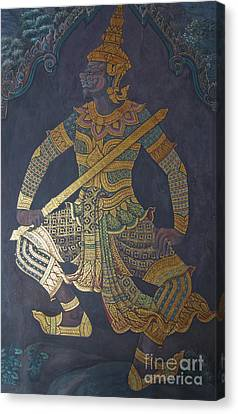 photo of art painting on Thai temple wall Canvas Print by Komkrit Muanchan