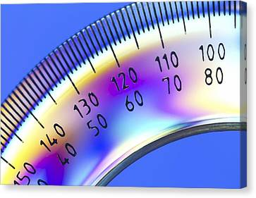 Photoelastic Stress Of A Protractor Canvas Print by Pasieka