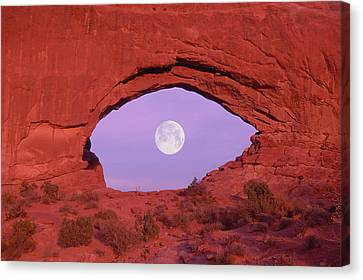 Photographer At Window At Arches National Park Canvas Print by Grant Faint