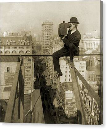 Photographer Perched On Slender Beam 18 Canvas Print by Everett