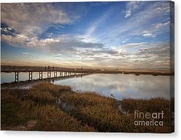 Photographers On Bridge At Sunset Canvas Print