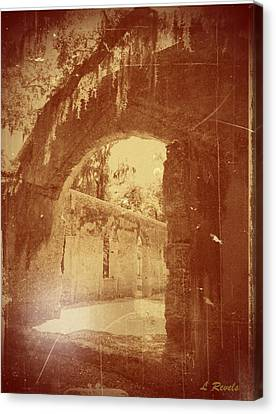 Photos In An Attic - The Ruins Canvas Print by Leslie Revels Andrews