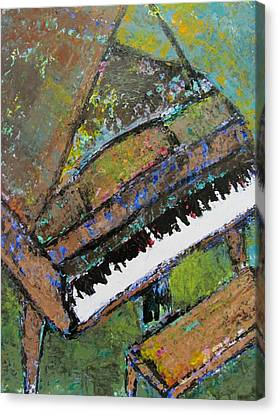 Piano Aqua Wall - Cropped Canvas Print by Anita Burgermeister
