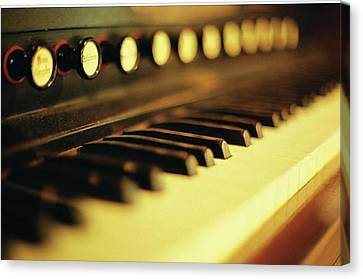 Piano Keys And Buttons Canvas Print by photographer, loves art, lives in Kyoto