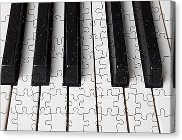 Piano Keys Jigsaw Canvas Print by Garry Gay