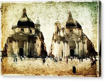 Canvas Print featuring the digital art Piazza Del Popolo by Andrea Barbieri