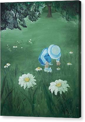 Canvas Print featuring the painting Picking Flowers by Angela Stout