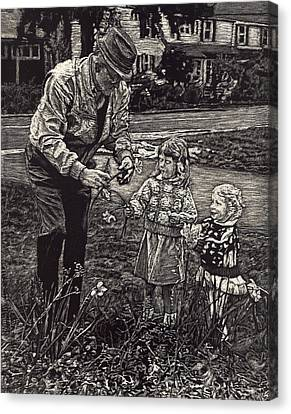 Picking Flowers With Grandpa Canvas Print by Robert Goudreau