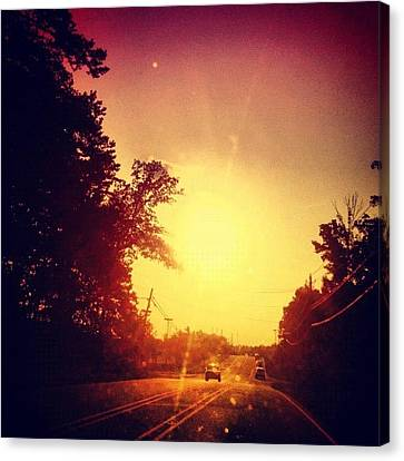 Edit Canvas Print - Picking Up Dinner #driving #sunset #sun by Katie Williams