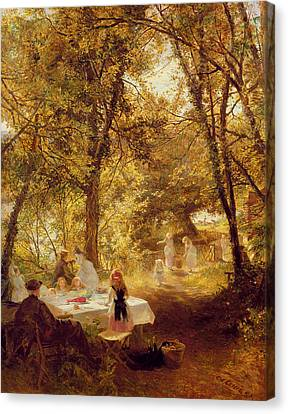 Picnic Canvas Print by Charles James Lewis