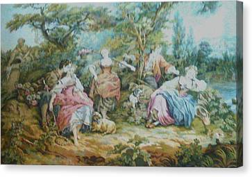 Picnic In France Tapestry Canvas Print by Unique Consignment