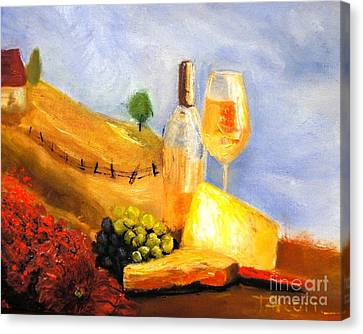 Picnic In The Vineyard Canvas Print by Therese Alcorn