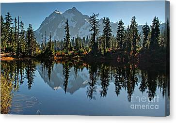 Canvas Print featuring the photograph Picture Lake - Heather Meadows Landscape In Autumn Art Prints by Valerie Garner