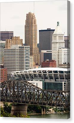 Picture Of Cincinnati Downtown City Buildings Canvas Print by Paul Velgos