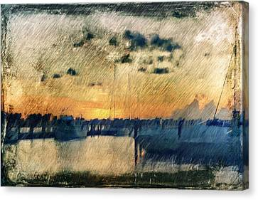 Canvas Print featuring the digital art Pier At Sunset by Andrea Barbieri