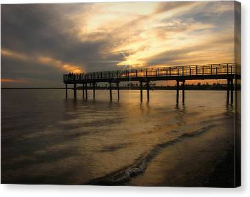 Canvas Print featuring the photograph Pier  by Cindy Haggerty