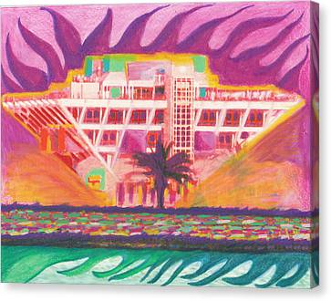 Pier In The Pink Canvas Print by Sheree Rensel