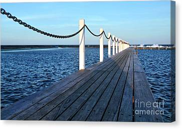 Pier To The Ocean Canvas Print by Kaye Menner