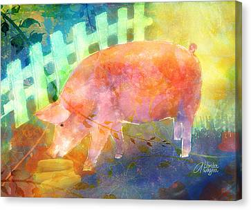 Pig In A Pen Canvas Print