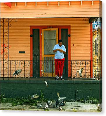 Pigeon Lady Of New Orleans Canvas Print