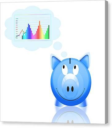 Piggy Bank Canvas Print - Piggy Bank With Graph by Setsiri Silapasuwanchai