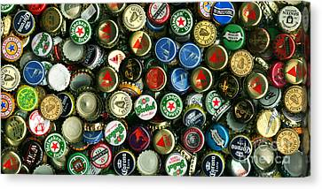 Pile Of Beer Bottle Caps . 2 To 1 Proportion Canvas Print by Wingsdomain Art and Photography