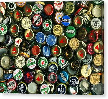 Pile Of Beer Bottle Caps . 8 To 10 Proportion Canvas Print by Wingsdomain Art and Photography