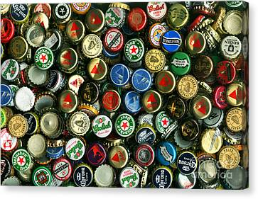 Pile Of Beer Bottle Caps . 8 To 12 Proportion Canvas Print by Wingsdomain Art and Photography
