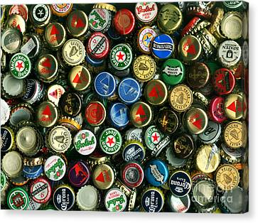 Pile Of Beer Bottle Caps . 9 To 12 Proportion Canvas Print by Wingsdomain Art and Photography