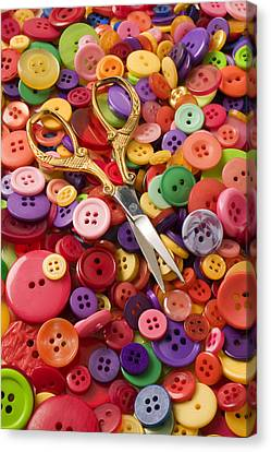 Pile Of Buttons With Scissors  Canvas Print by Garry Gay