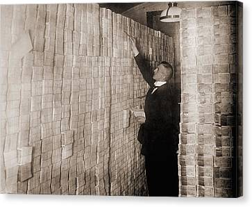 Piles Of German Money In A Berlin Bank Canvas Print by Everett