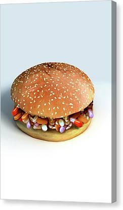 Pill Burger Canvas Print by MedicalRF.com